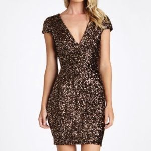 Dress the Population Zoe Bodycon Cap Sequin Dress